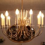 Chandelier - metal, crystal - 1970
