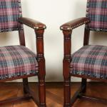 Pair of Armchairs - solid oak, leather - 1890