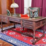 Writing Table - solid oak, leather - 1950