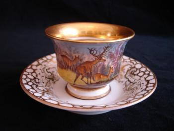 Cup and Saucer - white porcelain - 1850