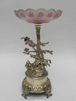 Pedestal Bowl - metal, glass - 1850