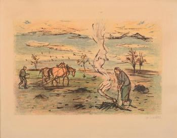 Man with horses and a woman at bonfire on a field
