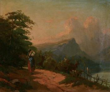 Girl watching the Alpes mountains