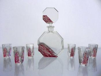 Decanter set - clear glass, etched glass - 1940