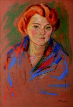 A portrait of a lady with red hair