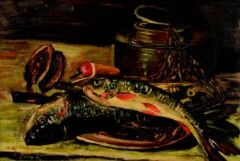 A still life with trouts
