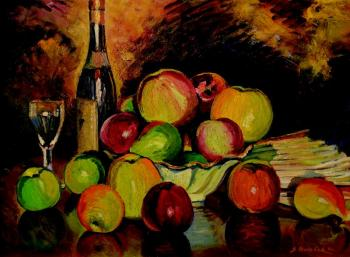 A still life with apples and a bottle of wine
