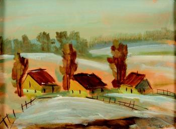Three cottages in winter