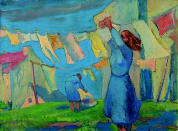 A woman hanging laundry