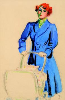 A woman with a baby-carriage