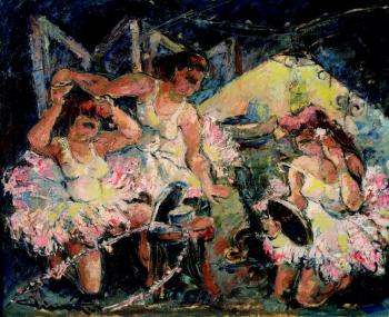 Three female dancers at a dressroom