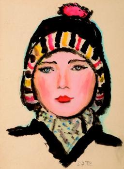 A portrait of a female in a winter hat