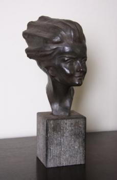 Bust of Woman - terracotta, black stone - Ernest Patris - 1960