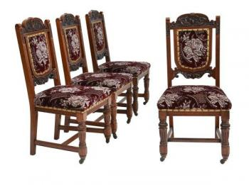 Four Chairs - solid wood - 1890