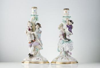 Pair of Porcelain Candlesticks - 1880