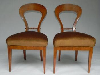 Pair of Chairs - solid wood, cherry veneer - Biedermeier - 1840
