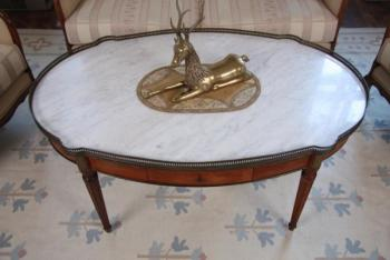 Coffee Table - wood, marble - 1950