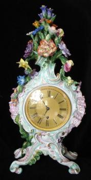 Meissen clock with floral decor