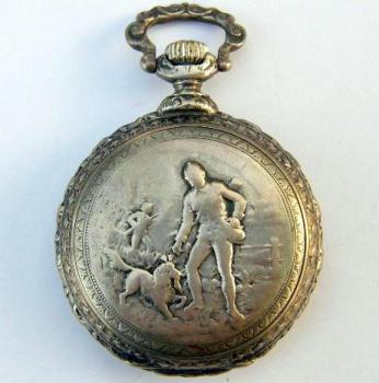 Figural Mantel Timepiece - silver - 1900