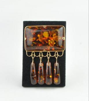 Brooch - gold, amber - 1960