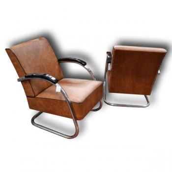 Pair of Armchairs - solid beech, chrome - 1932