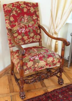 Carved Armchair - solid oak - 1950