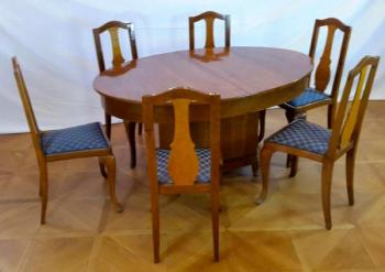 Dining Table and Chairs - oak, oak veneer - 1920