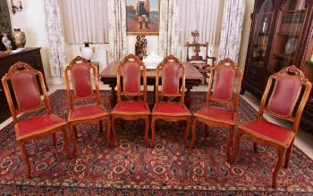 Six Chairs - solid oak, leather - 1890