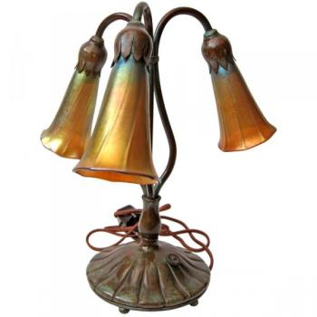 Table Lamp - patinated bronze - Tiffany - 1900