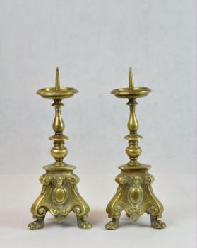 Pair of Candelsticks - bronze, brass - 1650