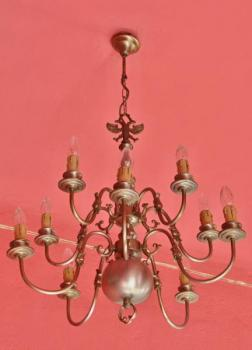 Chandelier - white metal - 1920