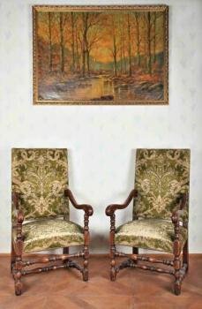 Pair of Armchairs - solid oak - 1870