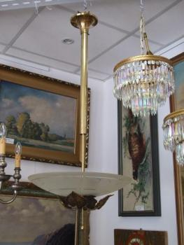 Round Chandelier - brass, sandblasted glass - 1930