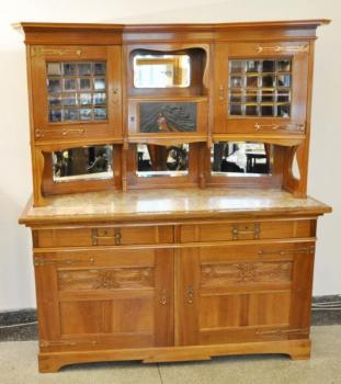 Cupboard - marble, solid walnut wood - 1910