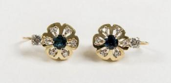 Gold Earrings with Brilliants - gold, brilliant cut diamond - 1930