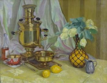 Still life with samovar and white roses in vase