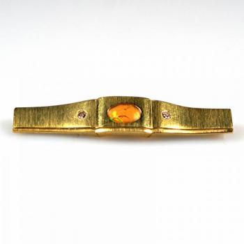 Brilliant Brooch - yellow gold, brilliant cut diamond - 1980