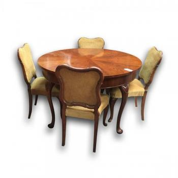 Dining Table and Chairs - walnut wood - 1920