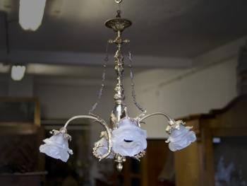 Four Light Chandelier - brass, glass - 1920