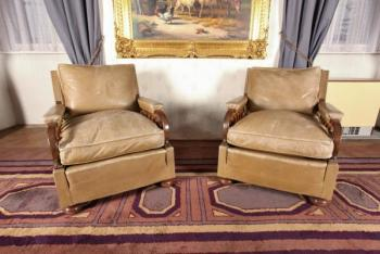Pair of Armchairs - wood, leather - 1920