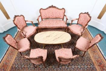 Dining Table and Chairs - wood, solid wood - 1880