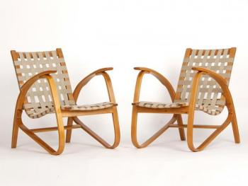 Armchairs by Jan Vanek, 1935, Set of Two