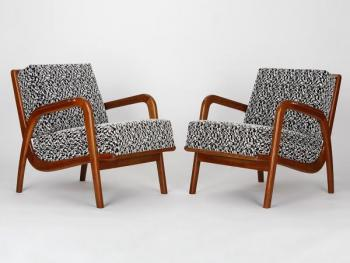 Czech Mid-Century Armchairs, 1950s, Set of Two