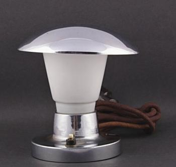 Table Lamp - chrome, milk glass - 1930