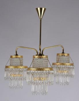 Three Light Chandelier - metal, glass - 1900