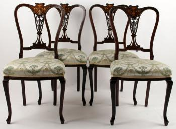 Four Chairs - walnut veneer, solid walnut wood - 1870