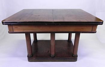 Dining Table and Chairs - leather, solid walnut wood - Art Deco - 1920