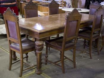 Dining Table and Chairs - wood - 1900