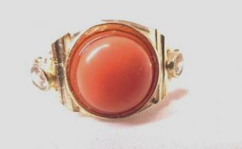 Ladies' Gold Ring - gold, coral - 1960