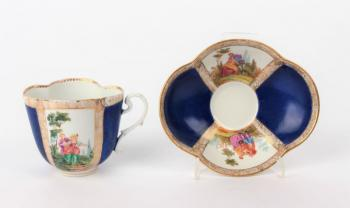 Cup and Saucer - white porcelain - Meissen - 1870